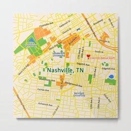 Map of Nashville, TN Metal Print