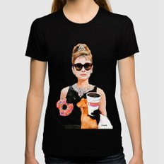 Breakfast at Dunkin Donuts - Audrey Hepburn Black Womens Fitted Tee MEDIUM