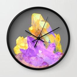 BOHO YELLOW & PURPLE QUARTZ CRYSTALS GREY ART Wall Clock