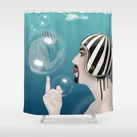 bubble Shower Curtains featuring bubble  by mark ashkenazi
