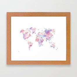 Watercolour World Map (purple) Framed Art Print