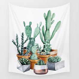 Potted Cacti Wall Tapestry
