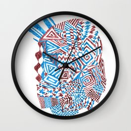 Face, Blue/Red Abstract (Ink Drawing) Wall Clock