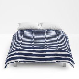 Navy Blue Stripes on White II Comforters