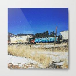 Blue Graffiti Metal Print