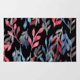 180726 Abstract Leaves Botanical Dark Mode 2 |Botanical Illustrations Rug