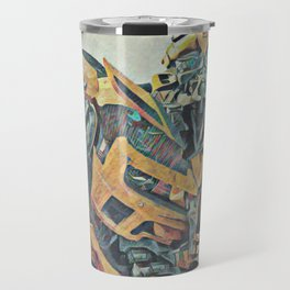 Bumblebee Surprised Artistic Illustration Colored Pencils Lines Style Travel Mug