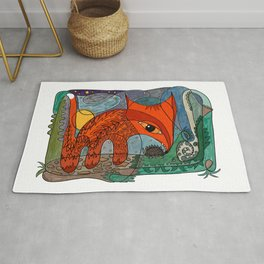Fox and hedgehog under the moon Rug