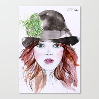 emma stone Canvas Prints featuring Emma Stone by Vicky Ink.