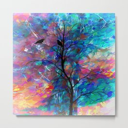 Love Birds Abstract Metal Print