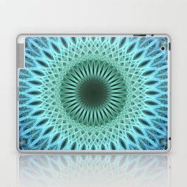 Light blue mandala with a bit of green Laptop & iPad Skin