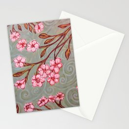 Cherry Blossoms in the Breeze Stationery Cards