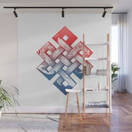 Colored Buddhist knot of eternity Wall Mural