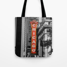 Black and White with Red Chicago Theatre sign Photography Tote Bag