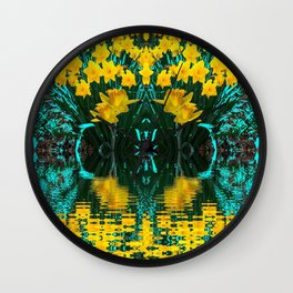 YELLOW DAFFODILS TURQUOISE PATTERNED GARDEN Wall Clock