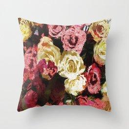 Fuzzy floral Throw Pillow