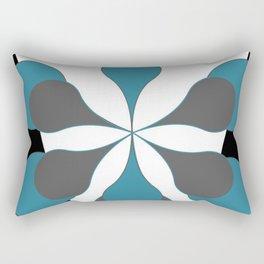 Mid-Century Modern Art 1.4B Grey Aqua Flower Rectangular Pillow