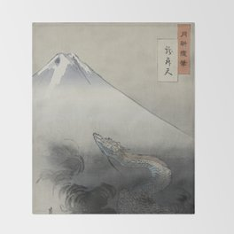 Dragon Rising to the Heavens at Mount Fuji by Ogata Gekko Throw Blanket