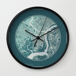 Philadelphia Map Planet Wall Clock