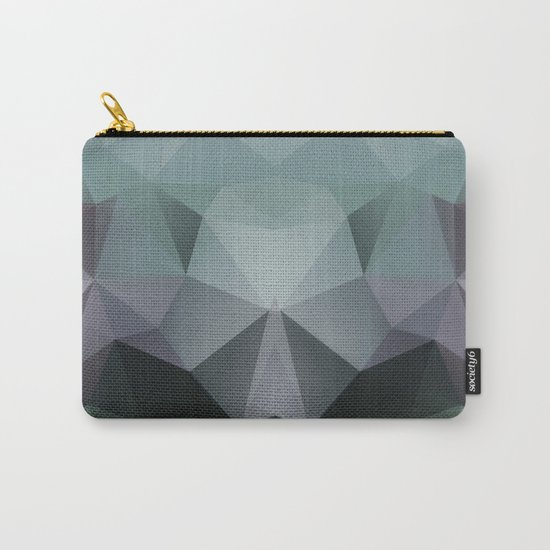 Abstract geometric polygonal pattern in grey and green tones . Carry-All Pouch