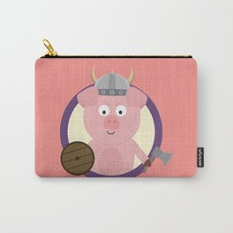 Viking pig in purple circle Carry-All Pouch