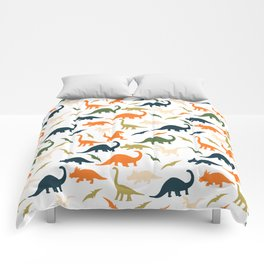 Dinos in Pastel Green and Orange Comforters