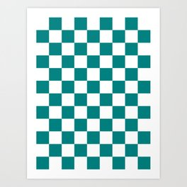 Checkered - White and Dark Cyan Art Print