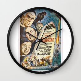 Vintage Classic Movie Posters, The Raven Wall Clock
