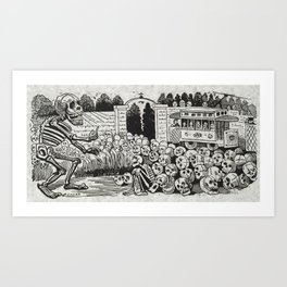 Grand electric skull by Jose Guadalupe Posada Art Print