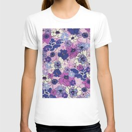 Red Violet and Navy Anemones T-shirt