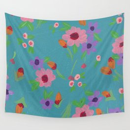 Spring in Blue Wall Tapestry