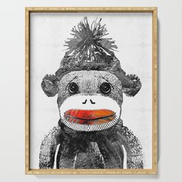 Sock Monkey Art In Black White And Red - By Sharon Cummings Serving Tray