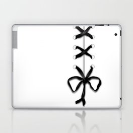 Laced Black Ribbon on White Laptop & iPad Skin