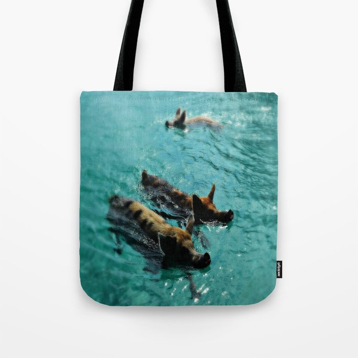 Swimming Pigs In The Exumas, Bahamas, Caribbean Tote Bag by epicureculture