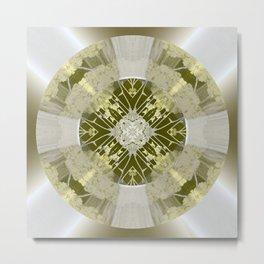 Microchip Mandala in Gold Metal Print