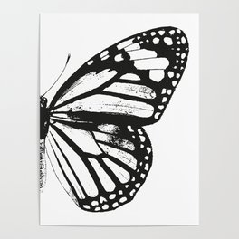 Monarch Butterfly | Right Butterfly Wing | Vintage Butterflies | Black and White | Poster