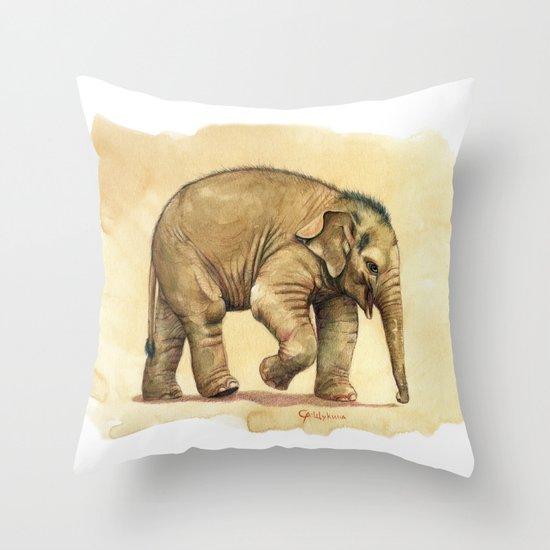 Baby elephant A081 Throw Pillow