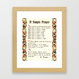 Inspirational Typography Wall Art, Simple Peace Prayer, St. Francis of Assisi, Florentine Design Framed Art Print