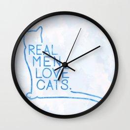 Real Men Love Cats Watercolor Blue Wall Clock