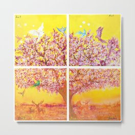 Paradise Tree, quadriptych, birds Metal Print