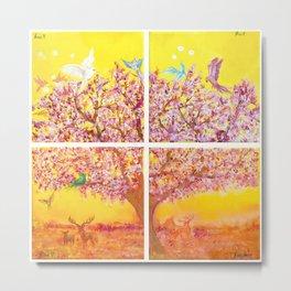 Paradise Tree, quadriptych, birds Metal Print