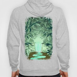 Fluorescent Waterfall on Surreal Bamboo Forest Hoody