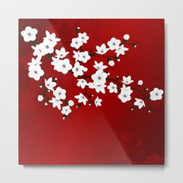 Red Black And White Cherry Blossoms Metal Print
