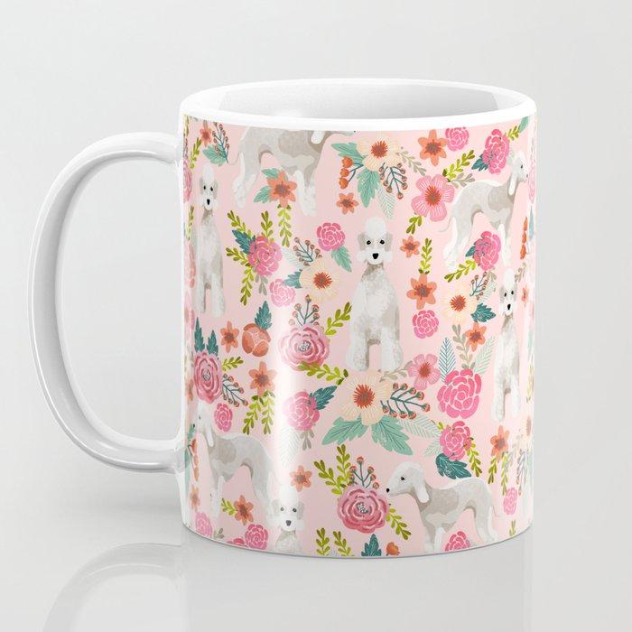 Bedlington Terrier floral dog breed gifts for unique pet lover pink Coffee Mug