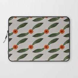 Retro Leaf and Orange Gerbera Floral Pattern Laptop Sleeve