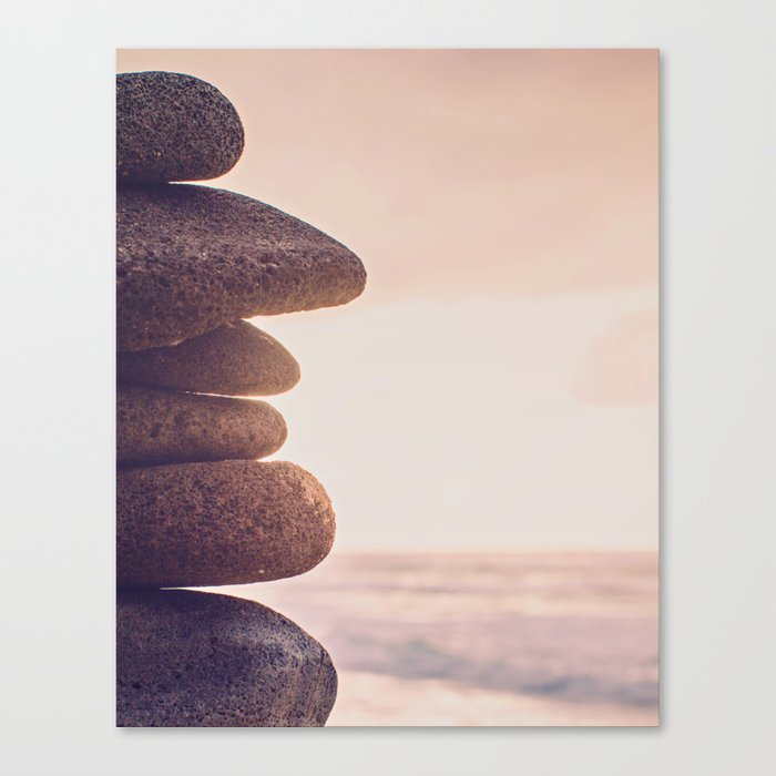 Stacked Rocks On Beach Fine Art Photography Canvas Print By