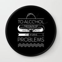 alcohol Wall Clocks featuring To alcohol! by Sama