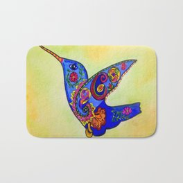 humming bird in color with green-yellow back ground Bath Mat