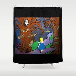 Alice in Wonderland in the Forbidden Forest Shower Curtain