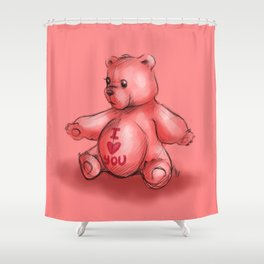 Pink Teddy Bear Shower Curtain